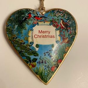 Vintage Style Heart Metal Christmas Ornament